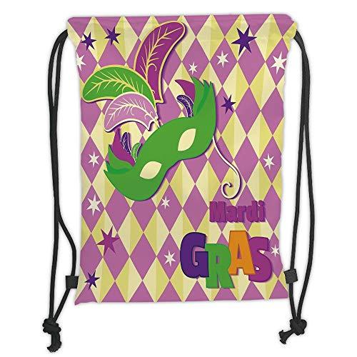Drawstring Rucksäcke, Mardi Gras, Checkered-Maske mit Stars, Harlekin Festival, dekorative Zusammensetzung, Pink/Gelb/Grün/Satin, 5 l, Füllmenge, verstellbar