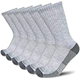 APTYID Men's Moisture Control Cushion Crew Work Boot Socks,Grey, Sock Size 10-13, 6 Pairs