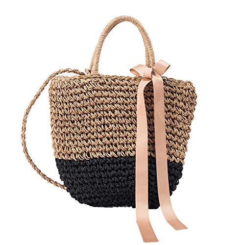 Backpack-Showya Damen-Rucksackhandtaschendamen Schultaschen-Setsstrohsack Handtaschen Umhängetasche Strohkorb Tasche