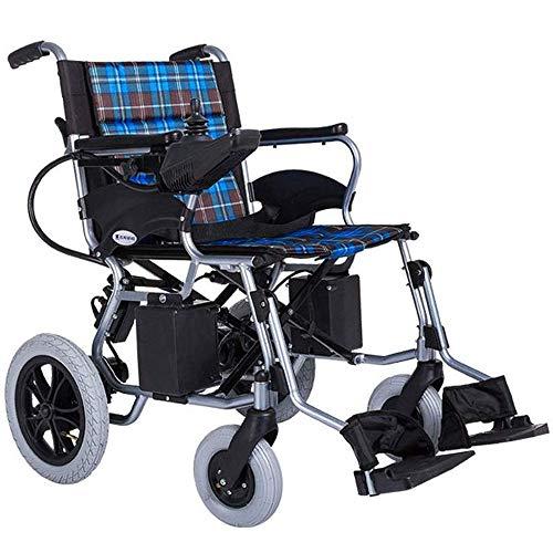 GJNWRQCY Elektrische rolstoel, aluminiumlegering, oude, ongeschikte rolstoel, opvouwbaar, draagbaar, met vier wielen