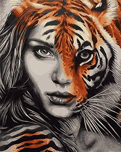 YEESAM ART Paint by Numbers for Adults Kids, Tiger Face Girl 16x20 Inch Linen Canvas Acrylic DIY Number Painting Kits Wall Art Decor Gifts (Framed, Tiger Girl)