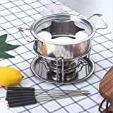 YORKING Stainless Steel Cheese Chocolate Fondue Set Melting Pot with 6 Forks for Chocolate Caramel Cheese Sauces