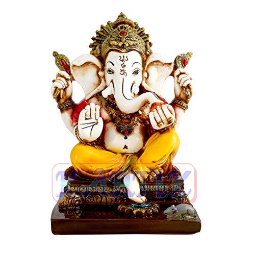 VintFlea Estatua del Señor Ganesh Ganpati Elefante hindú Dios polirresina ídolo escultura religiosa Puja Artículo 6 Pulgadas
