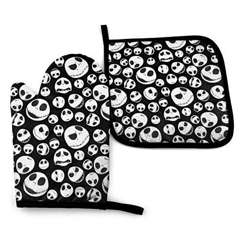 Nightmare Before Christmas Oven Mitts And Pot Holders Heavy Duty Cooking Gloves Kitchen Counter Safe Mats Advanced Heat Resistance