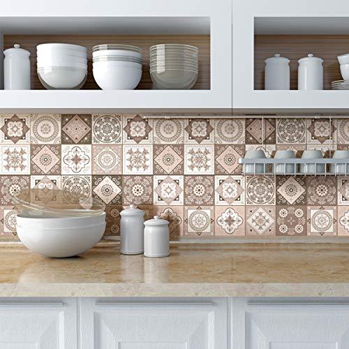 Piastrelle adesive - Adesivo piastrelle di cemento - Decorazione da parete adesivi per bagno e cucina - piastrelle di cemento adesivo da parete - 10 x 10 cm - 9 pezzi, col-tiles-RJ-A630_10x10cm