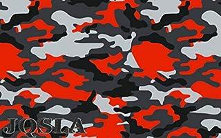 "JQSLA Orange Black White Gray Camouflage Matte Premium Vinyl Car Wrap Decal Film Sheet Air Channel Release Technology + Free Tool Kit (84"" x 60"" / 7FT x 5FT)"