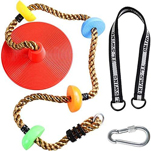 XIHUANNI Cuerda de escalada para niños, cuerda de disco de columpio de árbol con asiento de plataforma, juego de columpio para juegos al aire libre