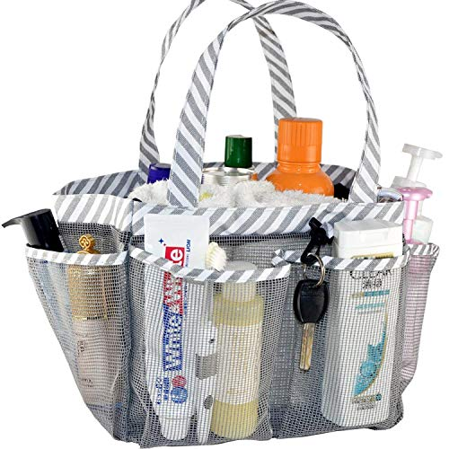 ACEEN Mesh Shower Caddy Tote, Portable College Dorm Bathroom Tote Organizer for Bathing Storage, Collapsible Quick Dry Mesh Toiletry Bag with 8 Pockets Basket with Key Chain for Camp Gym