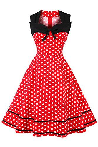 Damen 50er Jahre Rockabilly Vintage Kleid Tanzkleid Pin up Polka Dots Kurz Rot L