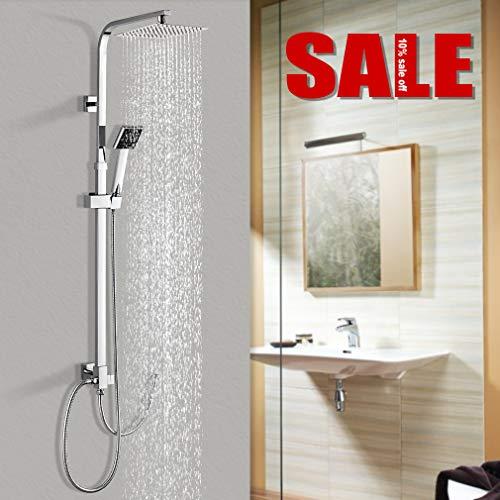 Duschsystem Duscharmatur Edelstahl, WOOHSE Brauseset Duschstange mit Regendusche Überkopfdusche und ABS Handbrause Duschsäule Duschset verchromt, Höhenverstellbar 88,5~123,5 cm