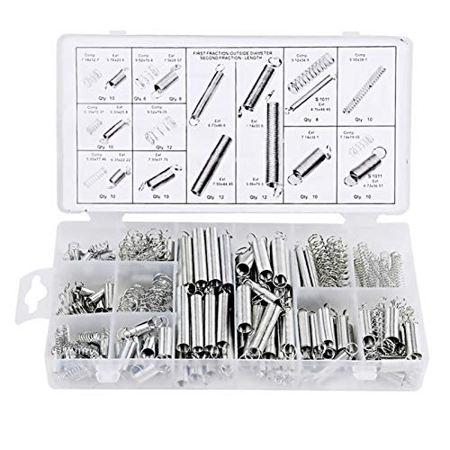 Lchg-ui Kits de muelles Acero for muelles, 200Pcs / Caja, Hardware eléctrico del Tambor de extensión muelles de tracción, Traje Presión Conjunto práctico, Primavera