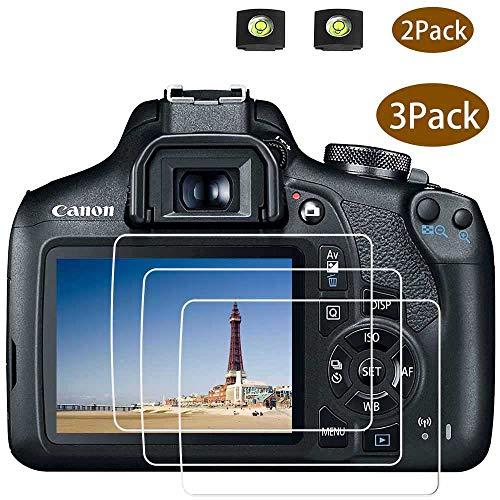 EOS 2000D Displayschutzfolie für Canon EOS 2000D 1300D DSLR-Kamera und Blitzschuhabdeckung,ULBTER 0,3 mm 9H Härte gehärtetes Glas Kratzfest, Anti-Fingerabdruck, Anti-Wasser Anti-Staub,3 Stück