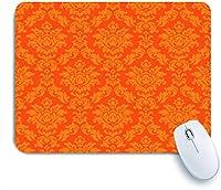 ECOMAOMI 可愛いマウスパッド 美しいオレンジ色のレトロなバロック様式のベネチアンアンティークブランチ 滑り止めゴムバッキングマウスパッドノートブックコンピュータマウスマット