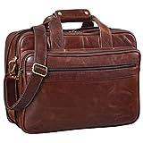 STILORD 'Leopold' Maletín Grande de Cuero Vintage para Hombres Bolso Mensajero o Bandolera Bolsa de Hombro XL para portátil de 14' o 15,6' de auténtica Piel, Color:Chocolate - marrón