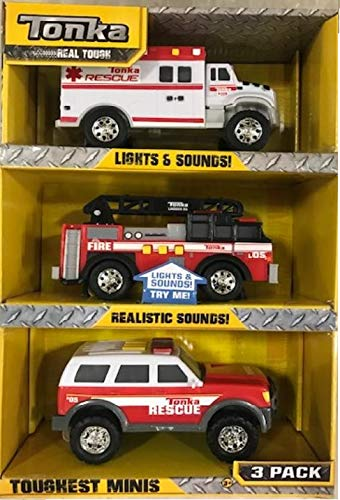 Tonka Funrise Toy Mini 3 Pack: Ambulance, Fire Truck, Fire Chief SUV