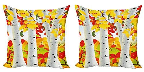 ABAKUHAUS Otoño Set de 2 Fundas para Cojín, Escena del otoño con Las Hojas, con Estampado en Ambos Lados con Cremallera, 40 cm x 40 cm, Mostaza Naranja Verde