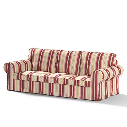 Dekoria Rivestimento per divani a 3 posti Ektorp Vecchio Modello Rivestimento per Divano, copridivano, Fodere, Adatto al Modello Ikea Ektorp, Bordeaux-Beige