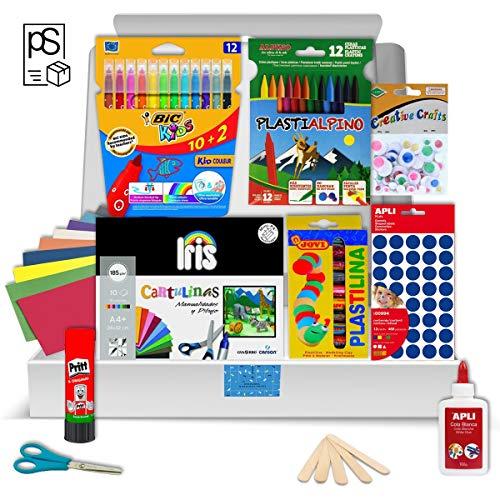 Pack Manualidades - PS-BASICS CRAFTS - Kit de material para Manualidades: Cartulinas, Goma EVA, Pegamento, Cola, Tijeras. Productos de Papeleria al Mejor Precio (Esencial)