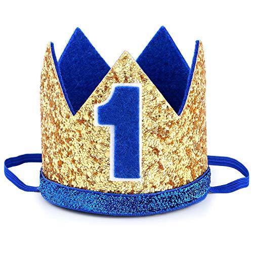 Tacobear Couronne Anniversaire 1 an Bébé Diadème Fille Garçon 1 Anniversaire Bandeau pour Prince Bébé Fête Photographie Couronne Prop avec Fleur (Or Bleu)