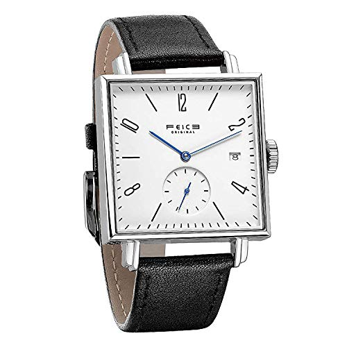 FEICE Men's Square Watch Bauhaus Automatic Mechanical Watch Waterproof Wristwatch with Sapphire Crystal Leather Straps for Women Unisex -FM301