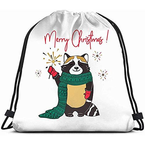 jenny-shop Waschbär roten Schal niedlichen Cartoon Charcter Waschbär Tierferien Kordelzug Rucksack Gym Sack leichte Tasche