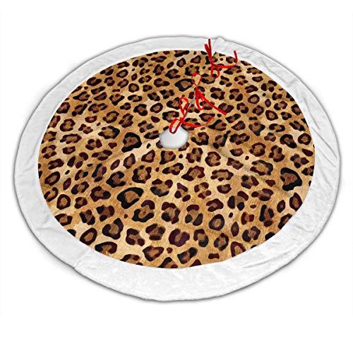 GOWINEU Runder Weihnachtsbaumrock mit Leopardenmuster und rustikaler Textur, 48 Zoll, großer runder Weihnachtsblock mit weißer Kante, für Weihnachtsfeiertagsdekorationen, Weihnachtsthema-Design