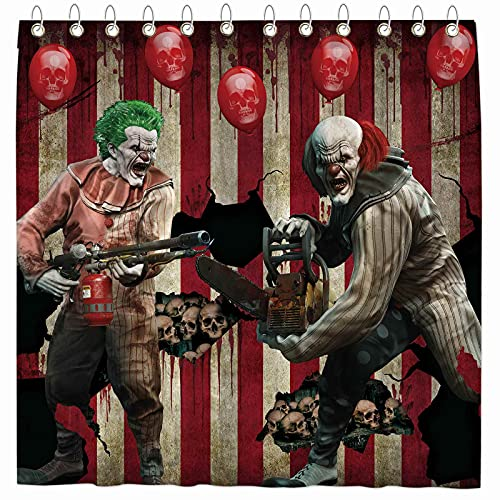 "Funnytree Halloween Eve Clown Shower Curtain Horror Circus Carnival Hallowmas Home Bathtubs Bathroom Curtain Decoration Set with 12 Hooks Easy Care Washable Durable Polyester Fabric 72""x72"""
