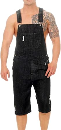 LUCKME Men Dungarees Shorts Denim Onesie Blue Jumpsuit Stonewash Bib Overalls Multi-Pocket Slim Fit Brace Overalls Casual Smart Jeans with Holes All in One Workwear