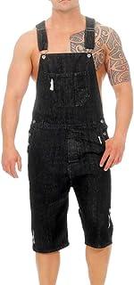 LUCKME Men Dungarees Shorts Denim Onesie Blue Jumpsuit Stonewash Bib Overalls Multi-Pocket Slim Fit Brace Overalls Casual ...