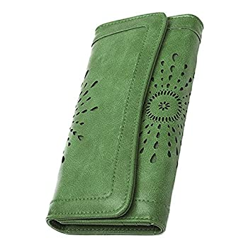 OB OURBAG Women Leather Wallet Clutch Purse Card Holder Ladies Hollow Out Long Wallet Green