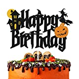 YOYMARR Halloween Cake Topper Happy Birthday Sign Cake Decorations for...