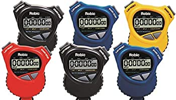 Robic 1000W Dual Stopwatch with Countdown Timer- 6 pack assortment Most comfortable stopwatch ever Soft rubber grips Use it for Swimming Fitness Track Running Training Racing