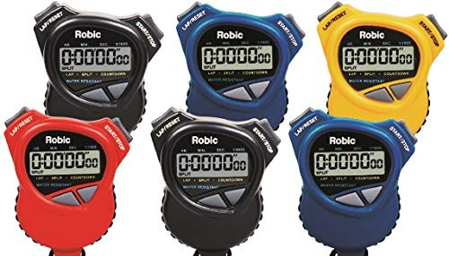 Robic 1000W Dual Stopwatch with Countdown Timer- 6 pack assortment. Most comfortable stopwatch ever, Soft rubber grips. Use it for Swimming, Fitness, Track, Running, Training, Racing