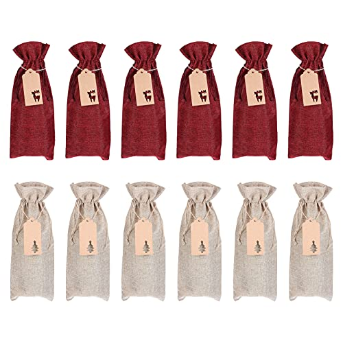 Hemoton 12 Unidades de Bolsas de Vino de Lino Bolsas de Almacenamiento de Vino con Cordón Bolsas de Regalo de Vino de Yute Bolsas de Vino de Arpillera con Etiquetas (Colores Surtidos)