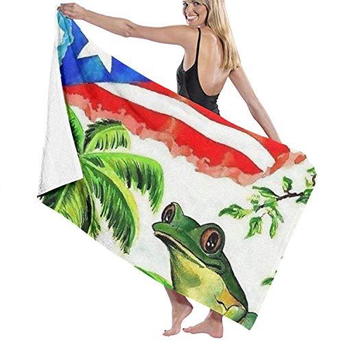 Candi-Shop Toalla de Playa Bandera de Puerto Rico Toalla de baño de Ranas de Gran tamaño Ducha de natación Manta para Mujer Tela portátil para Deportes en Barco