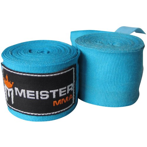 "Meister Adult 180"" Semi-Elastic Hand Wraps for MMA & Boxing (Pair) - Turquoise"