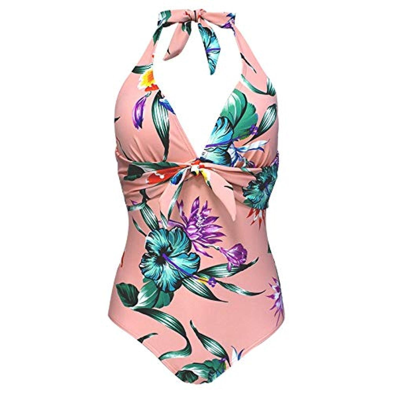 女性 レディースビキニセット水着ワンピースを押し上げる, 女性の花ワンピース水着夏のセクシーなVネックホルター背中が大きく開いワイヤレスボウタイモノキニ水着水泳衣装 レディース 水着 海水浴 ビキニ ギフト (色 : ピンク, サイズ : S)