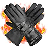 Wodesid Electric Heated Gloves Rechargeable Leather Gloves...