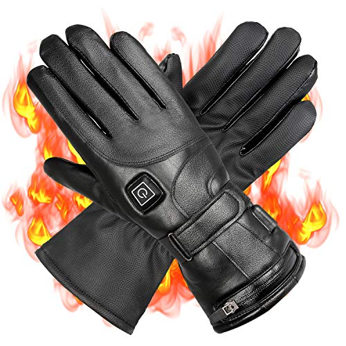 Wodesid Electric Heated Gloves Rechargeable Leather Gloves for Men Women Heating Thermal Gloves Motorcycle Ski Snow Warmer Mitten Glove Arthritis for Winter Outdoor Indoor Sports (Leather Gloves)