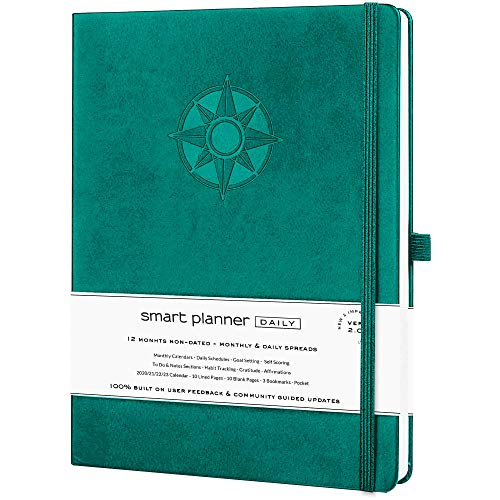 Smart Planner Daily 2021 - Achieve Goals & Increase Productivity, Time Management & Happiness - Daily Weekly Monthly Planner with Gratitude Journal, Hardcover, Undated (Light Green)