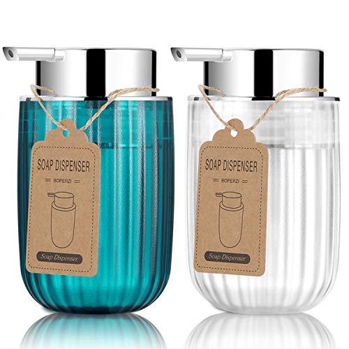 Boperzi 2 dispensadores de jabón de mano de plástico, rellenables, con bomba a prueba de óxido, apto para cocina, baño (300 ml)