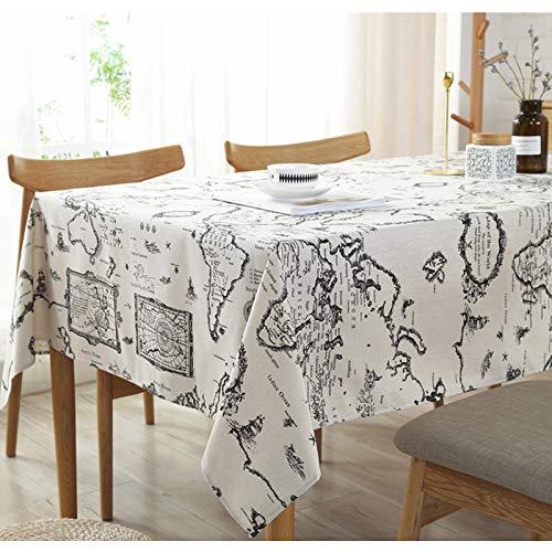 Creek Ywh tafelkleed van katoen-linnen, wereldkaart, 140 x 140 cm