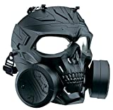 M10 Airsoft Protective Gas Mask Tactical Full Face Toxic Safety Eye Protection Skull Dummy Game Mask, Adjustable Strap for BB Gun CS Paintball Cosplay Costume Halloween Masquerade,No Anti-Gas Function