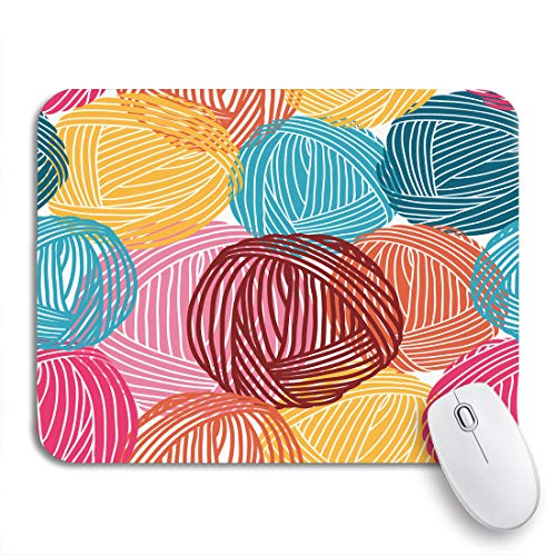 Adowyee Gaming Mouse Pad Blue Pattern Wool Balls Yarn Skeins Colorful Orange Hand 9.5'x7.9' Nonslip Rubber Backing Computer Mousepad for Notebooks Mouse Mats
