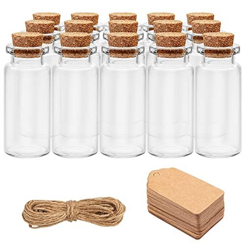 BELLE VOUS Bote Cristal Tapon Corcho (Pack de 64) -Mini Botellas de Cristal 10ml con Cordel y 64 Etiqueta Personalizarlo - Mini tarros para Bodas Bote Pequeño Cristal Manualidad, Fiesta, Almacenaje