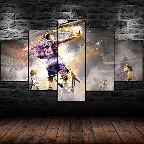 QFNY 5 Piezas Lienzos Cuadros Pinturas Baloncesto Impresiones En Lienzo Decoración para El Arte De La Pared del Hogar, Salón Oficina Mordern Decoración Artística,80x150cm