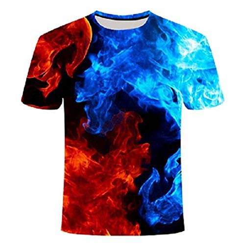 Wijider Chemise Manche Courte Homme,Unisex T-Shirt 3D Printed Red Blue Fire Pattern,Men's Short Sleeve Tops Tees Summer Breathable Tee Shirt-XL