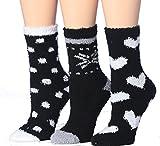Tipi Toe Women's 3-Pairs Cozy Microfiber Anti-Skid Soft Fuzzy Crew Socks FZ16-B