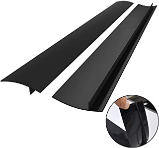 FORLIVE K-01 Kitchen Silicone Stove Cover, Easy Clean Heat Resistant Wide & Long Gap Filler, Seals Spills Between Counter, Stovetop, Oven, Washer & Dryer, Set of 2 (21 Inches, Black)