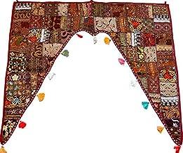 GANESHAM decoración India para el hogar, étnico para Colgar en la Pared, Vintage, Puerta de Parches, Cenefa Bohemia Bordada a Mano, con Cuentas, Cenefa para Ventana